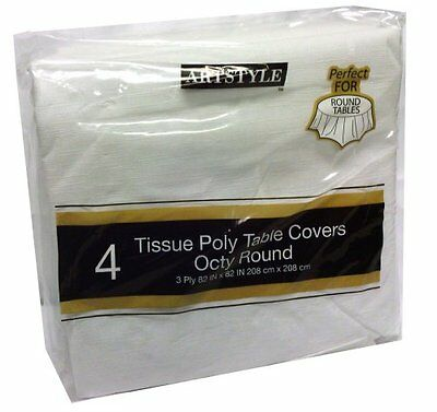 Artstyle Tissue Poly Table Covers Octy Round 4 Pack, New