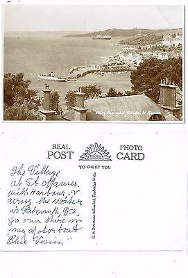 Cornish Post Card Real Photo Of The Pier And Village St. Mawes 53659
