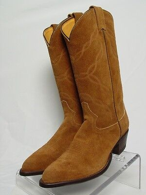 NEW USA TONY LAMA Women 8.5-B Brown Rough Out Suede Horse Western Cowboy Boots