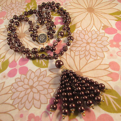 Vintage 1960s/70s Double Strand Chocolate Faux Pearl Beaded Tassle Necklace