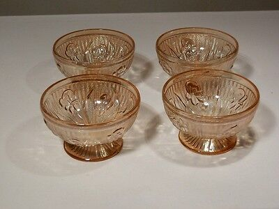 4 Iris & Herringbone Iridescent Sherbets By Jeanette Glass Excellent