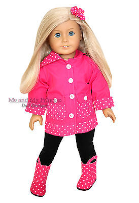 DOT RAINCOAT + PANTS + TOP + BOOTS made for 18 inch American Girl Doll Clothes