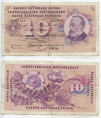 GB045 - Banknote Schweiz 10 Franken 1964 Pick#45i Bern & Zürich 2.April 1964