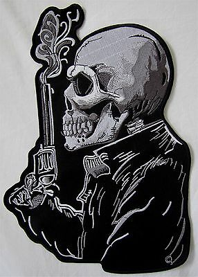 Rare Large Skeleton With Pistol Motorcycle Biker Embroidered Sew Badge Patch