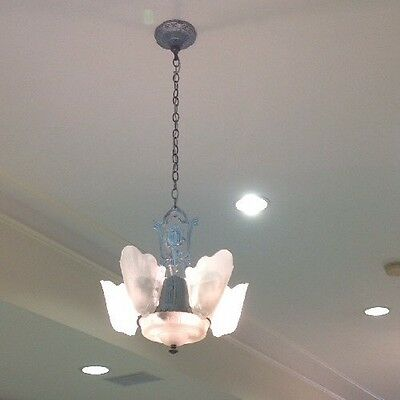 Art Deco 1920's Chandelier With 5 Glass Slip Shades