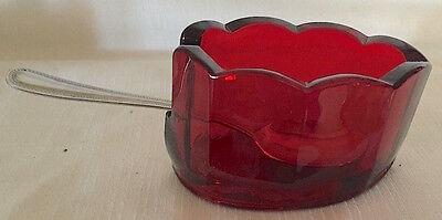 Red Glass Old Mule Scalloped Spoonholder