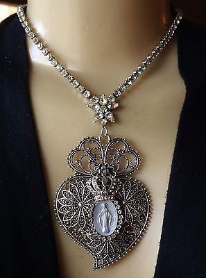 Vintage Necklace Sacred Heart Religious Miraculous Medal Clear Rhinestones