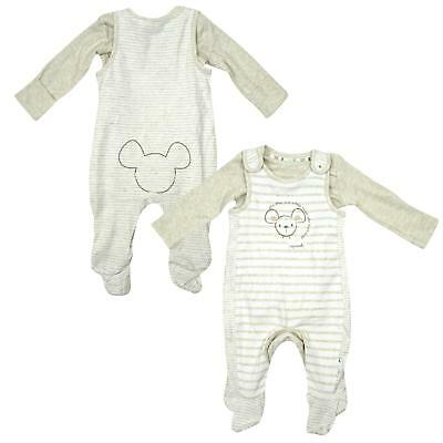 Boys Little Mouse Stripe Romper & Bodysuit Top Set Early Baby to 6 Months NEW