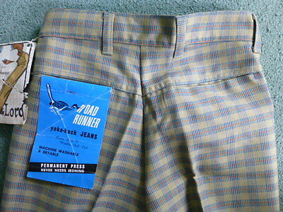 NOS Vintage Boy's Galey & Lord Road Runner Yoke-back Jeans Plaid Pants 16 Slim