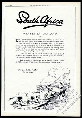 1928 beach body surf board surfing art South Africa travel UK vintage print ad