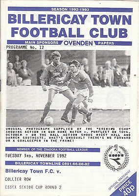 BILLERICAY TOWN v COLLIERS ROW. 3/11/92. ESSEX CUP