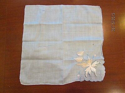 "Blue with white flower applied  11"" Estate Vintage Handkerchief Hanky"