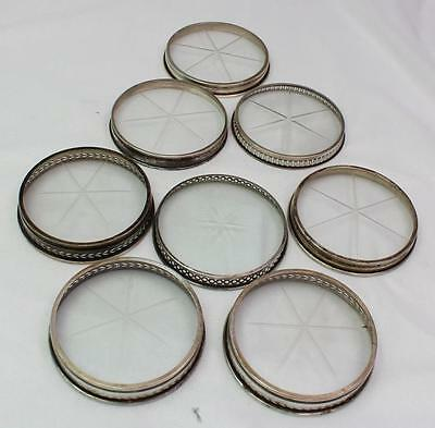 8 Vintage to Antique Sterling Rim Glass Coasters Differnt Designs & Makers