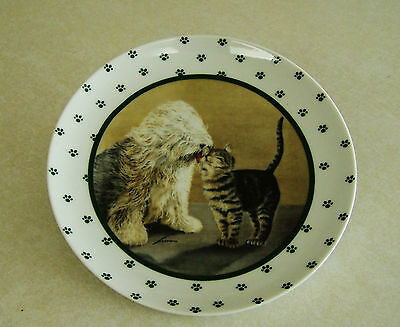 LOWELL HERRERO 1986 OLD ENGLISH SHEEPDOG w/ TABBY CAT PLATE by Vandor-Japan