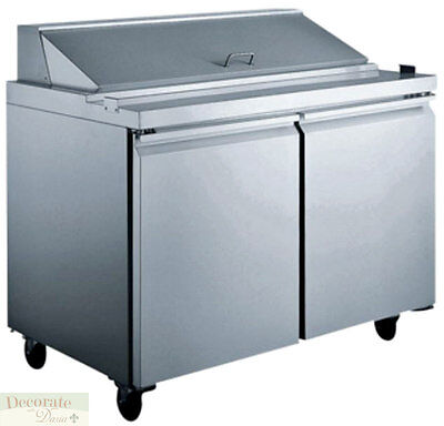"""SALAD SANDWICH PREP TABLE 60"""" REFRIGERATED 3 Door 24 Pans 15 Cu Ft Stainless New"""