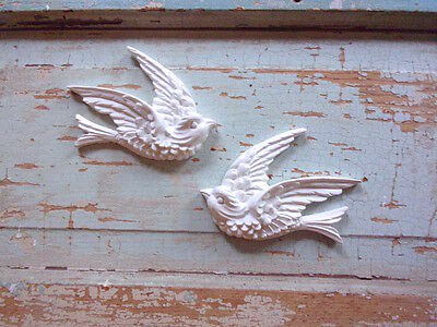 SHABBY n CHIC FURNITURE APPLIQUES * SET /  BIRDS (2) * FLEXIBLE * PAINTABLE NEW!