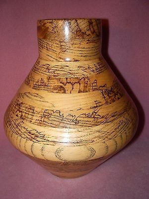 Handcrafted Laminated Wood Flower Vase Artist Signed, Donald Haley, Lafayette IN