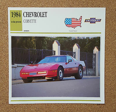 CLASSIC Cars Fact & photo reprint picture card CHEVROLET Corvette Red Sports car