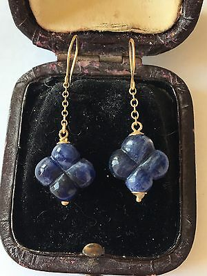 Antique Heavy Carved Blue Hard Stone Probably Sapphire In 18ct Yellow Gold