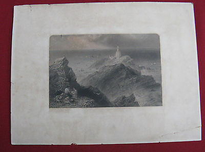 """Antique hand coloured engraving, not framed. """"The Mumbles,1837"""""""