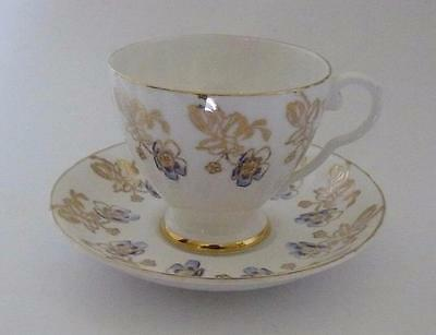 Vintage Royal Grafton Golden Leaves Blue Anemone Tea Cup and Saucer