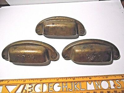 Lot Of 3 Brass Toned Die-Cast Metal Drawer Pulls Or Handles With Screws