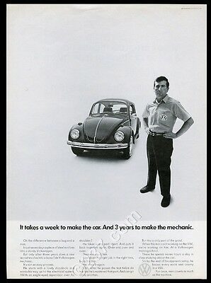 1969 Volkswagen Beetle classic car & VW mechanic photo vintage print ad