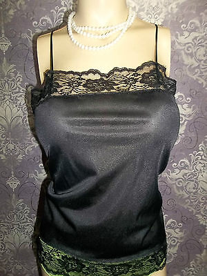 Vintage Camisole Top Slip Nighty Black Satin Lacey Sheer 1980s Lingerie 36