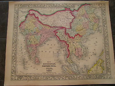1860 ORIGINAl Map of Hindoostan, Farther India, China