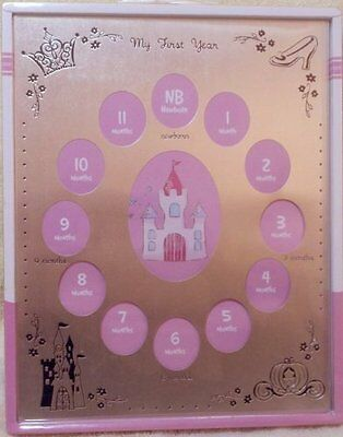 Girls Disney My First Year Photo Frame Pink, New
