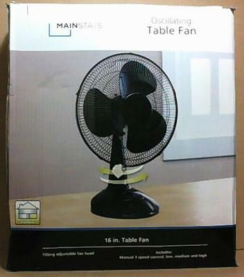 MainStays 51666 Oscillating 16 Inch Table Stand Fan Black