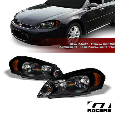 For 2006-2016 Chevy Impala/Monte Carlo Black Housing Headlights Lamps Amber Dy