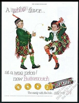 1952 Life Savers Butter Scotch candy kids in Scottish kilt costumes print ad