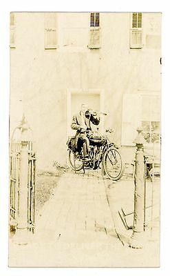 Real Photo -MAN PLAYING VIOLIN ON INDIAN MOTORCYCLE- RPPC Postcard