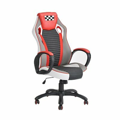 360 Swivel Racing Gaming Chair With Headrest High-back PU Leather,Red - US Stock