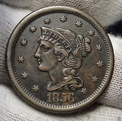 1856 Large Cent, Braided Hair Penny - High Grade Coin, Free Shipping  (2975)