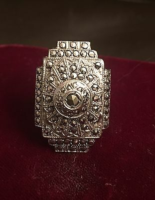 VINTAGE art DECO Sterling MARCASITE French rare RING
