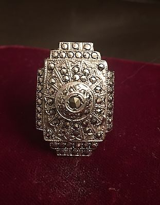 VINTAGE art DECO Sterling PRONG set MARCASITE French RING 1 X SALE