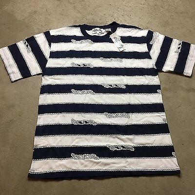 d7fec421e1af6 90S VTG NWT Wide NAUTICAL Striped GRUNGE T Shirt SURF Blue L White Lil  Yachty
