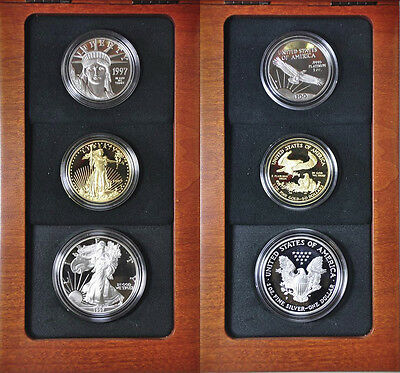1997 W Platinum Gold Silver Eagle Proof Impressions Of Liberty Set 4,965 Made
