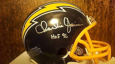 Charlie Joiner Autographed Riddell Mini-Helmet 2015 Leaf Authentics