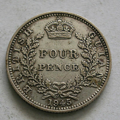 BRITISH GUIANA AND WEST INDIES-SILVER 4 PENCE 1945-KM # 30a