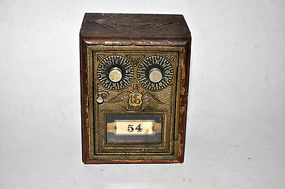 1930 Antique Post Office Door Mail Box Wood Bank W Dual Dial Brass Eagle Corbin