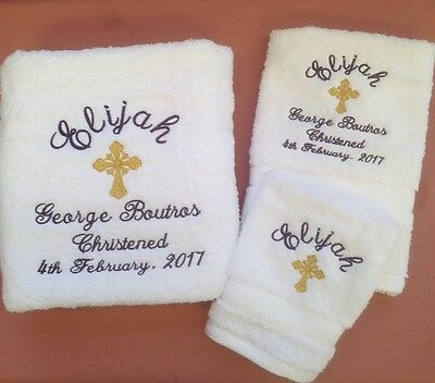 Personalised Baby's Embroidered Bath Towel Set With Christening/baptistism