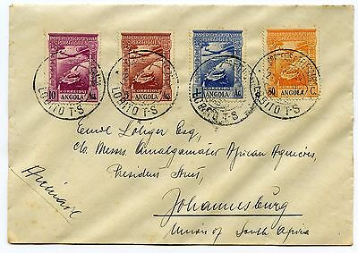 Angola multifranked cover Lobito to Johannesburg South Africa s/scan