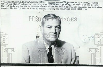1969 Press Photo Herbert Hoover, eldest son of 31st U.S. President