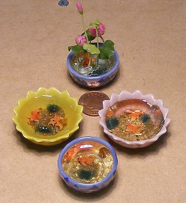 1:12 Scale Ready Made Pond With Fish Dolls House Miniature Garden Accessory FL