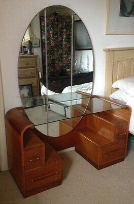 Rare Art Deco Vanity Dressing Table With Huge Oval Mirror Glass Top