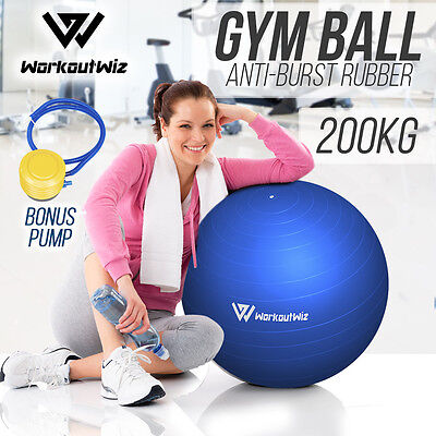NEW WORKOUT WIZ SWISS BALLS YOGA HOME GYM EXERCISE PILATES FITNESS 75cm blue