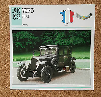 CLASSIC Cars Fact & photo reprint picture card VOISIN M1/C1 Luxury French car